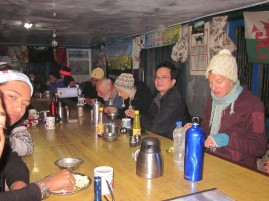 Trekkers enjoying meal at Machhapuchhre Base Camp